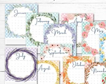 Printable 2022 Floral Calendar, Print it Yourself Calendar, Organization tool, Printable Monthly Planner, Digital 2022 Calendar.