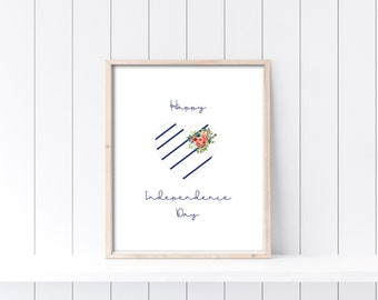 Printable July 4th Independence Day 8x10 wall art.