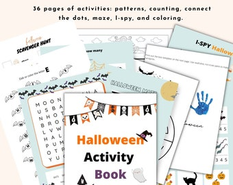 PRINTABLE Halloween coloring pages for kids ages 4-8 years old. Printable worksheets, Learning activity pages.  Halloween party activity.