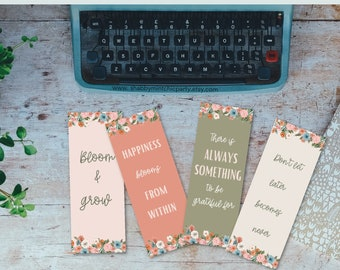 Printable floral motivational quotes  Bookmarks, floral bookmarks to print at home, Book lover printable gift, bookmark with quotes
