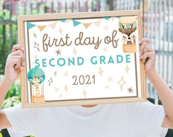 PRINTABLE 2021 First Day of School Printable sign, 2021 School Year Sign ,Boho Animals, Printable Signs for Preschool-12th grade, Photo Prop