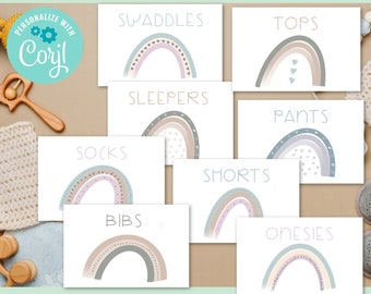 Editable Gender Neutral Rainbow Baby Drawer Labels, Clothes label Editable Text, Nursery Organization, Rainbow Nursery Clothes Labels