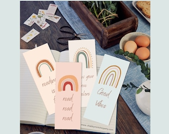 Printable Boho Rainbow Bookmarks, Rainbow bookmarks to print at home, Book lover printable gift, bookmark with reading quotes