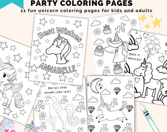 Editable unicorn party coloring pages for kids and adults. Easily edit in Canva.