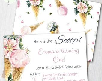 Editable Ice-Cream Party Invitation Template, Ice-Cream Social Birthday Invite, Girl Birthday Invitation, Ice-Cream Theme, First Birthday