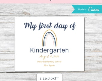 Editable First Day of School Printable sign, Canva template,School Sign for Kids,Boho Rainbow Sign, Printable school sign for Any Grade.