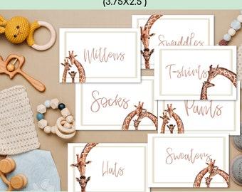 Editable Gender Neutral Giraffe Baby Drawer Labels, New Mom Gift, Nursery Organization, Nursery Decor, Baby Labels, Baby Shower Gift