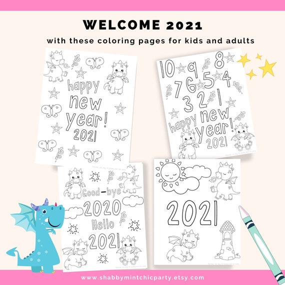 Digital Download Printable 2021 New Year Dragon Coloring Pages For Kids And Adults 2021 Color Pages New Years Eve New Year Printable By Shabby Mint Chic Party Catch My Party