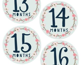 PRINTABLE.Baby Monthly Milestones.Months 13-24. Baby Milestone Stickers Diy.Baby Milestone Cards. Baby Gift. Baby shower gift. Gift for Her.