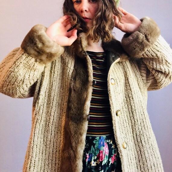 70s Fur Lined Sweater Coat