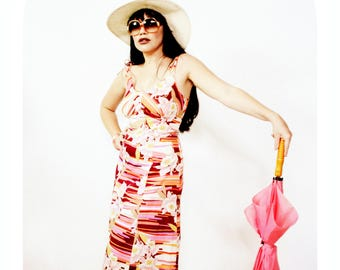 f312afe0b25 RETRO PINK TROPICAL Dress PD20 Double straps Summer orchid daffodil hot pink  purple orange Julian Haye 70s Hippy 60s