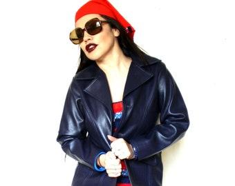 c9997803c7d5e NAVY BLUE LEATHER Jacket J25 Vintage 60s Mod 70s Hippy Grunge Vinyl Vegan  Faux Leather Pvc 14 Sapphire royal safari
