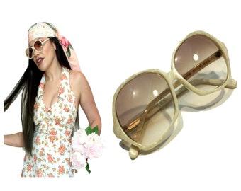 b39b62d5c4 WHITE MARBLED Sunglasses SG4 Big Eye Granite Marble Sunnies 60s 70s Square  Granpa Usa La Muette by OMC Hippy Boho Festival Cream pearl swirl