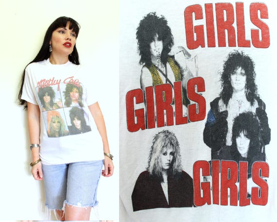 white worn CRUE MOTLEY WT5 official concert 80s tour Tee band bare thread Thin Girls 1987 Shirt festival music 1980s VINTAGE T Girls Girls 1qqExrwdB