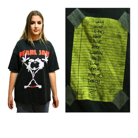 Rock Shirt bt16 JAM Grunge Vintage faded Music Band Holes ALIVE No Festival Code Worn Bare PEARL Tour Rock Vs Thread 90s T ZIwXIq
