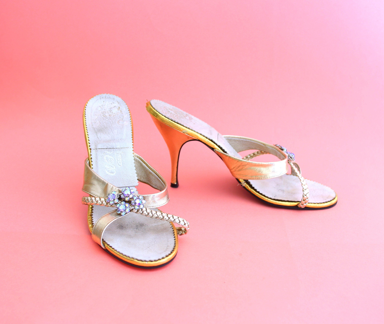 GOLD RHINESTONE SPRINGOLATOR 1950s Heels VS3 plaited Stiletto Aurora borealis diamonte plaited VS3 designed by nc combination last Afonz 4aa940