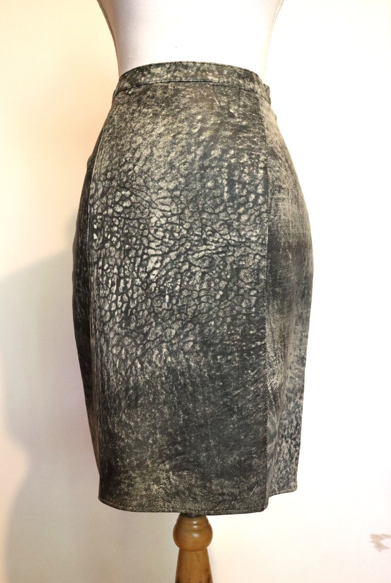 Grey Acid Wash Leather Pencil Wiggle Skirt 80s Hide Snakeskin ostrich look Marle Rags to Leather Adelaide Disco Biker Chick Grunge