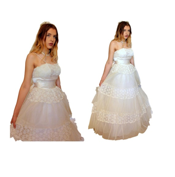 White Satin Lace Layered Ruffles Full Skirt 50s 60s Xs Wedding Dress Evening Sash Bridal Tulle Chiffon Prom Gown Spaghetti Strap Small Wd12
