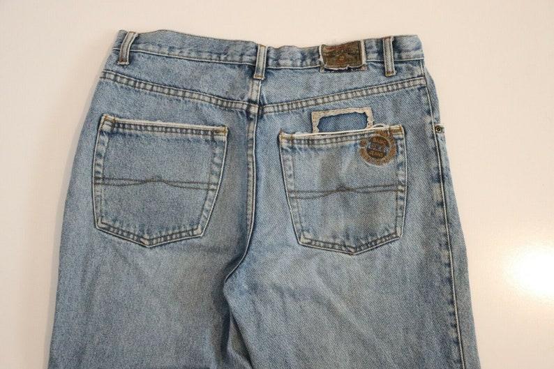 OKE 80s High Waist 90s Y2K Denim Blue Jeans Mom Boyfriend Worn Faded 35 w 41 L Mum Distressed Worn