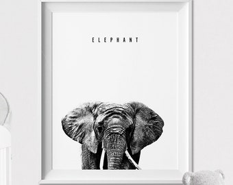 Elephant Wall art Print, Nursery Art, Poster, Graphic Pen, Black and White, Safari Animal, Peekaboo animal, Nursery Decor ArtFilesVicky