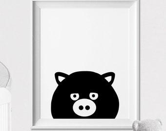Pig Nursery animal print, Animal art print, wall art, Peekaboo animal, Minimal, Black and White, Kids room, Nursery Decor, ArtFilesVicky