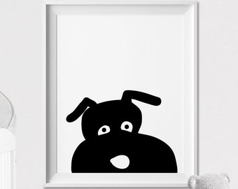 Dog Nursery animal print, Dog wall art, Peekaboo animal, Minimal, Black and White, Kids room, Wall art, Poster, Nursery Decor, ArtFilesVicky