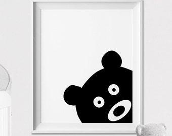 Nursery animal print, Bear Wall art, Peekaboo animal, Poster, Minimal, Black and White Animal, Woodlands, Nursery Decor, ArtFilesVicky