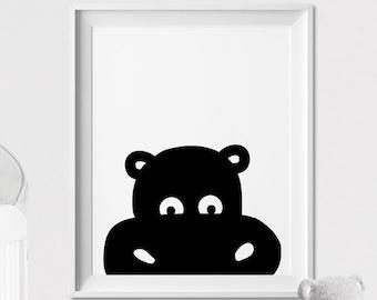 Hippo Nursery print, safari animal art print, Peekaboo animal, Minimal, Black and White, Wall art, Poster Nursery Decor, ArtFilesVicky