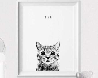 Cat print, Nursery animal print, Wall Art, Poster, Graphic Pen, Black and White Animal, Peekaboo animal, Nursery Decor, ArtFilesVicky