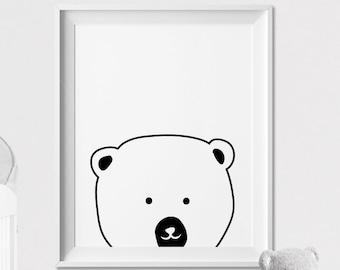 Polar bear, Nursery art print, wall art, Peekaboo animal, Minimal, Black and White, Kids room, Poster, Nursery Decor, ArtFilesVicky