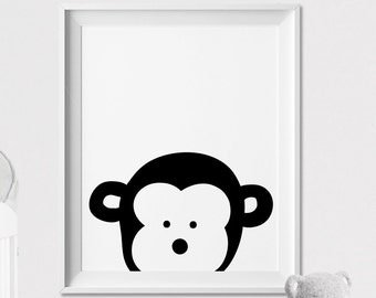 Monkey, Nursery animal print, Safari Animal art, wall art, Peekaboo animal, Minimal, Black and White, Poster, Nursery Decor, ArtFilesVicky