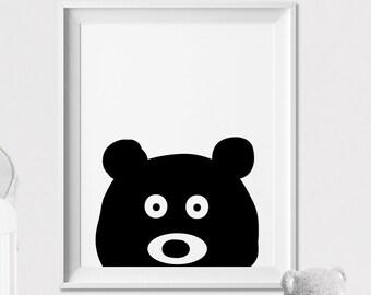 Bear Wall art Print, Nursery Art, Poster, Minimal, Black and White Animal, Woodlands, Peekaboo animal, Nursery Decor, ArtFilesVicky