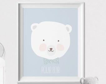 Polar Bear Nursery print, Nursery wall art, nursery animal print, poster, pastel, Kids room, Wall art, Poster Nursery Decor, ArtFilesVicky