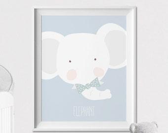 Elephant Nursery animal print, Nursery wall art, Safari animal poster, pastel, Kids room, Wall art, Poster Nursery Decor, ArtFilesVicky