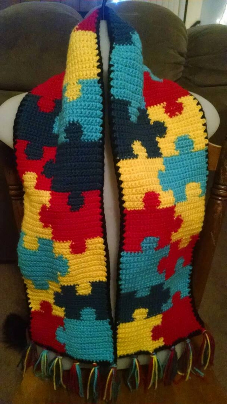 2bb3ae43d Autism awareness puzzle pattern scarf with tassels