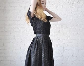 Vivian skirt • vintage 1950s gathered skirt • black taffeta 50s full skirt