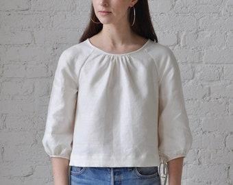 The Painter Smock • handmade ivory linen crop top • bishop sleeve linen blouse