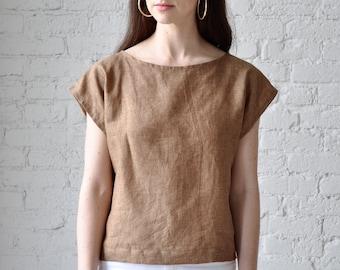 The Tunic Blouse • handmade linen crop top • sand linen shell
