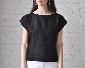 The Tunic Blouse • handmade black linen crop top • boat neck linen shell