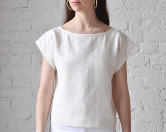 The Tunic • handmade ivory linen crop top • boat neck linen shell