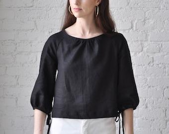 The Painter Smock • handmade black linen crop top • bishop sleeve linen blouse