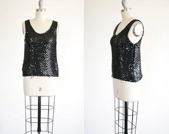Ebony tank • vintage 1980s sequin tank top • black sequin 80s blouse