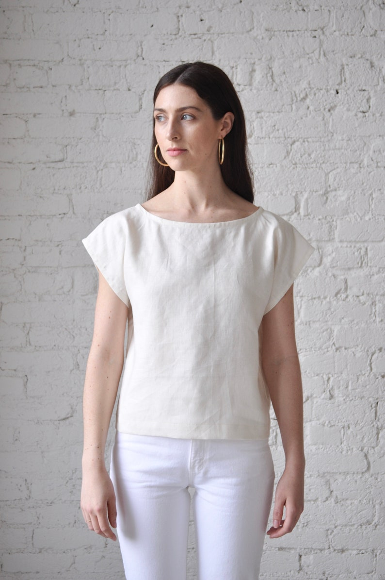 5c8d1d653e6bb6 The Tunic handmade white linen crop top boat neck linen | Etsy