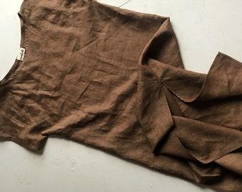 The Tunic Dress • handmade linen dress • Rust brown dress
