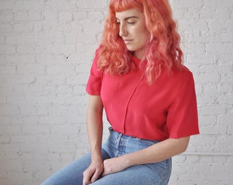 Ruby blouse • vintage 1980s silk georgette top • red silk 80s boxy blouse