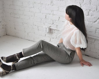 Karin trousers • vintage 90s trousers • 90s grey check high waist pants