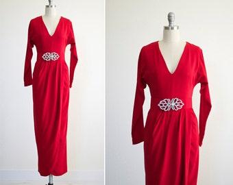 Siren dress • vintage 1980s Beltrami evening dress • red 80s designer wrap skirt formal  crepe gown