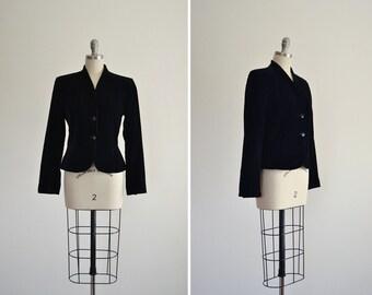 Nightfall blazer • vintage 1980s Diane Von Furstenberg jacket • black velvet DVF blazer