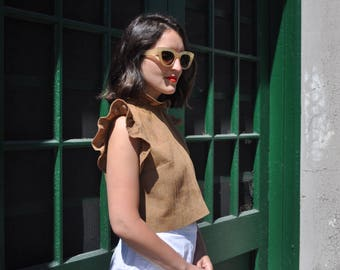 Lilly Blouse • linen crop top • frill top