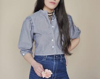 Collette top • vintage 1960s gray crop top • cotton bishop sleve button front blouse